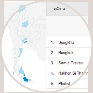 ภาพแสดงภูมิศาสตร์ผู้เข้าชมเว็บไซต์Google Analyticsให้กับคนที่มาใช้บริการรับทำเว็บไซต์และออกแบบเว็บไซต์